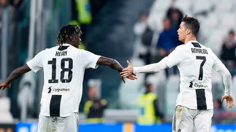 <p>               Juventus's Cristiano Ronaldo, right, celebrates after scoring the goal with teammate Moise Kean during the Italian Serie A soccer match between Juventus FC and Torino FC at the Allianz Stadium in Turin, Italy, Friday, May 3, 2019. (Alessandro Di Marco/ansa via AP)             </p>