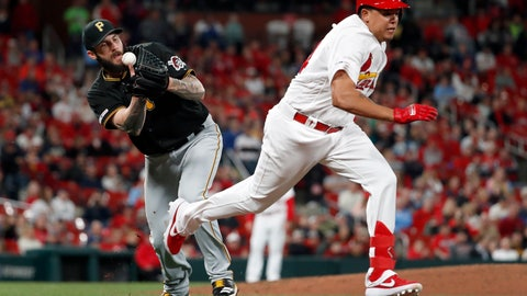 <p>               Pittsburgh Pirates starting pitcher Trevor Williams, left, bobbles a grounder by St. Louis Cardinals' Yairo Munoz as Munoz reaches base safely for a single during the seventh inning of a baseball game Friday, May 10, 2019, in St. Louis. (AP Photo/Jeff Roberson)             </p>