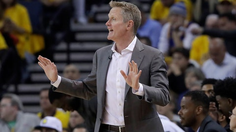 <p>               Golden State Warriors coach Steve Kerr gestures during the first half of Game 2 of the team's NBA basketball playoffs Western Conference finals against the Portland Trail Blazers in Oakland, Calif., Thursday, May 16, 2019. (AP Photo/Jeff Chiu)             </p>
