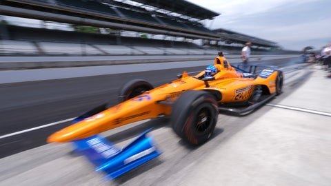 <p>               Fernando Alonso, of Spain, drives out of the pit area during practice for the Indianapolis 500 IndyCar auto race at Indianapolis Motor Speedway, Friday, May 17, 2019 in Indianapolis. (AP Photo/AJ Mast)             </p>