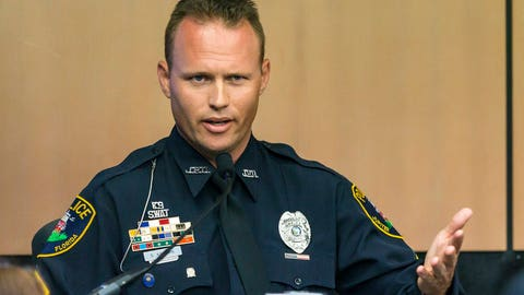 <p>               Jupiter police officer Scott Kimbark testifies during a motion hearing in New England Patriots owner Robert Kraft prostitution solicitation case, Wednesday, May 1, 2019, in West Palm Beach, Fla. Kimbark stopped the car containing Kraft. Kraft's attorneys argue that undercover surveillance videos allegedly showing their client paying for sex at a Jupiter day spa should be ruled inadmissible and the evidence thrown out. (Lannis Waters/Palm Beach Post via AP, Pool)             </p>