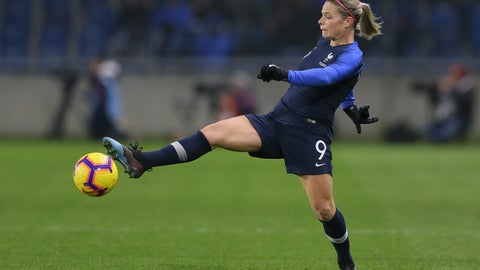 <p>               FILE - In this Jan. 19, 2019, file photo, France's Eugenie Le Sommer lunges for the ball during a women's international friendly soccer match against the United States at the Oceane stadium in Le Havre, France. (AP Photo/David Vincent, File             </p>