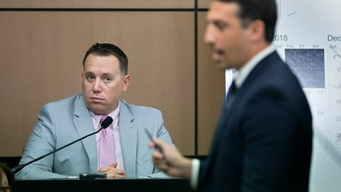 <p>               Jupiter Police Detective Andrew Sharp is questioned by Alex Spiro, right, attorney for New England Patriots owner Robert Kraft, during a motion hearing in the Kraft prostitution solicitation case, Wednesday, May 1, 2019, in West Palm Beach, Fla. Kraft's attorneys argue that undercover surveillance videos allegedly showing their client paying for sex at a Jupiter day spa should be ruled inadmissible and the evidence thrown out. (Lannis Waters/Palm Beach Post via AP, Pool)             </p>