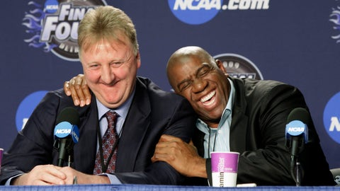 """<p>               FILE - In this Monday, April 6, 2009 file photo, former NBA players Earvin """"Magic"""" Johnson, right, and Larry Bird share a laugh at a news conference before the championship game between Michigan State and North Carolina at the men's NCAA Final Four college basketball tournament in Detroit. Magic Johnson and Larry Bird, whose coast-to-coast rivalry in the 1980s propelled the NBA to a new level of popularity, will be honored with the Lifetime Achievement Award.  The Hall of Famers and 1992 U.S. Olympic teammates will receive the award on June 24 at the NBA Awards, the league and Turner Sports announced Wednesday, May 15, 2019. (AP Photo/Amy Sancetta, File)             </p>"""