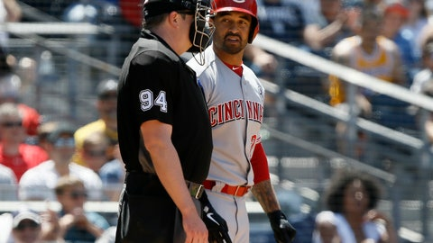 <p>               Cincinnati Reds' Matt Kemp, right, talks with umpire Lance Barrett after being called out on strikes during the fourth inning of a baseball game against the San Diego Padres in San Diego, Sunday, April 21, 2019. (AP Photo/Alex Gallardo)             </p>