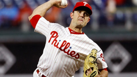 <p>               FILE - In this April 5, 2019, file photo, Philadelphia Phillies' David Robertson prepares to throw during a baseball game against the Minnesota Twins in Philadelphia. Robertson was told by Dr. James Andrews not to throw for three weeks to allow the flexor strain in his right elbow time to heal. He has not pitched since April 14. (AP Photo/Matt Slocum, File)             </p>