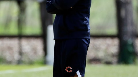 <p>               Chicago Bears defensive coordinator Chuck Pagano smiles as he watches his team during NFL football practice in Lake Forest, Ill., Wednesday, May 22, 2019. (AP Photo/Nam Y. Huh)             </p>