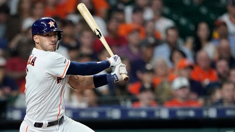 <p>               Houston Astros' Carlos Correa watches his RBI double against the Chicago White Sox during the fourth inning of a baseball game Wednesday, May 22, 2019, in Houston. (AP Photo/David J. Phillip)             </p>