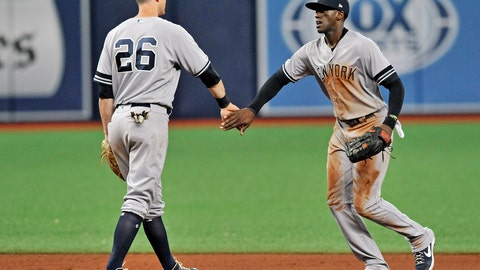 <p>               New York Yankees' DJ LeMahieu (26) and Cameron Maybin, right, celebrate the team's 4-3 win over the Tampa Bay Rays during the ninth inning of a baseball game Friday, May 10, 2019, in St. Petersburg, Fla. (AP Photo/Steve Nesius)             </p>