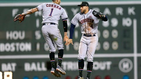 <p>               Houston Astros' Carlos Correa (1) and George Springer (4) celebrate after defeating the Boston Red Sox in a baseball game in Boston, Saturday, May 18, 2019. (AP Photo/Michael Dwyer)             </p>