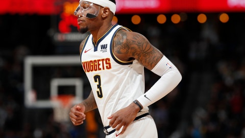 <p>               Denver Nuggets forward Torrey Craig takes the court while wearing a protective mask during the second half of Game 2 of the team's NBA basketball second-round playoff series against the Portland Trail Blazers on Wednesday, May 1, 2019, in Denver. Craig injured his nose during the first half. (AP Photo/David Zalubowski)             </p>