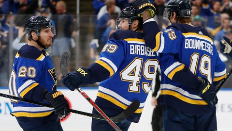 <p>               St. Louis Blues center Ivan Barbashev (49), of Russia, celebrates with Alexander Steen (20) and Jay Bouwmeester (19) after Barbashev scored a goal against the San Jose Sharks during the first period in Game 4 of the NHL hockey Stanley Cup Western Conference final series Friday, May 17, 2019, in St. Louis. (AP Photo/Jeff Roberson)             </p>