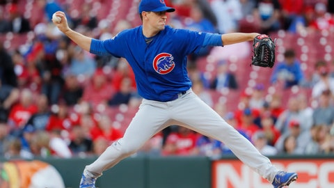<p>               Chicago Cubs starting pitcher Kyle Hendricks throws during the first inning of the team's baseball game against the Cincinnati Reds, Tuesday, May 14, 2019, in Cincinnati. (AP Photo/John Minchillo)             </p>