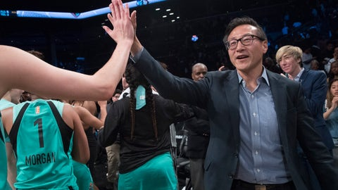 <p>               The New York Liberty's new owner, Joe Tsai, right, high-fives the Liberty players as they arrive at the bench at the end of a WNBA exhibition basketball game against China, Thursday, May 9, 2019, in New York. Tsai saw the team's exhibition game against the Chinese national team as a chance to grow relations between the two countries. (AP Photo/Mary Altaffer)             </p>