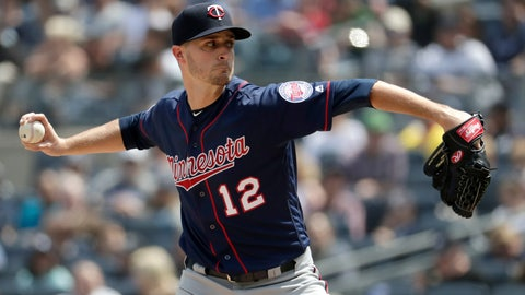 <p>               Minnesota Twins starting pitcher Jake Odorizzi throws a pitch to New York Yankees' Mike Tauchman during the third inning of a baseball game, Saturday, May 4, 2019, in New York. (AP Photo/Julio Cortez)             </p>