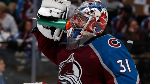 <p>               Colorado Avalanche goaltender Philipp Grubauer takes a drink during the second period of Game 4 of the team's NHL hockey second-round playoff series against the San Jose Sharks on Thursday, May 2, 2019, in Denver. (AP Photo/David Zalubowski)             </p>