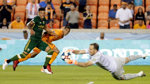 <p>               Portland Timbers defender Julio Cascante, left, and Houston Dynamo forward Mauro Manotas, middle, watch as Timbers goalkeeper Jeff Attinella, right, catches the goal shot by Manotas during the second half of an MLS soccer match Wednesday, May 15, 2019, in Houston. (AP Photo/Michael Wyke)             </p>