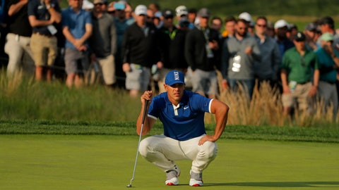 <p>               Brooks Koepka lines up a putt on the 17th green during the second round of the PGA Championship golf tournament, Friday, May 17, 2019, at Bethpage Black in Farmingdale, N.Y. (AP Photo/Andres Kudacki)             </p>