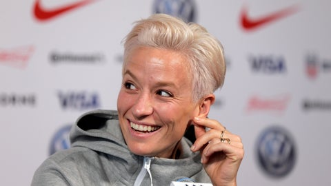 <p>               Megan Rapinoe, a member of the United States women's national soccer team, speaks to reporters during a news conference in New York, Friday, May 24, 2019. (AP Photo/Seth Wenig)             </p>