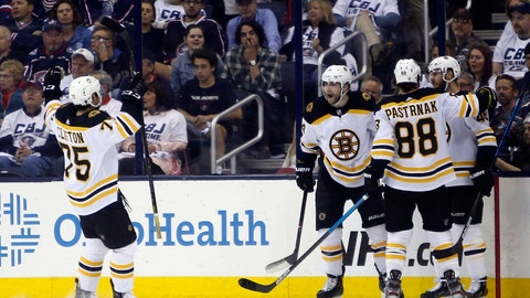 <p>               Boston Bruins players celebrate their goal against the Columbus Blue Jackets during the second period of Game 6 of an NHL hockey second-round playoff series Monday, May 6, 2019, in Columbus, Ohio. (AP Photo/Jay LaPrete)             </p>
