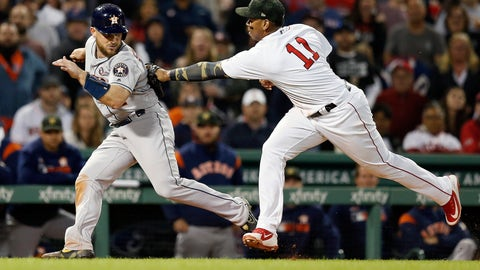 <p>               Boston Red Sox's Rafael Devers (11) tags out Houston Astros' Max Stassi in a rundown after a line-out by Alex Bregman during the seventh inning of a baseball game in Boston, Saturday, May 18, 2019. (AP Photo/Michael Dwyer)             </p>