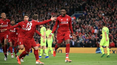 <p>               Liverpool's Divock Origi, center, celebrates scoring his side's fourth goal of the game during the Champions League Semi Final, second leg soccer match between Liverpool and Barcelona at Anfield, Liverpool, England, Tuesday, May 7, 2019. (Peter Byrne/PA via AP)             </p>