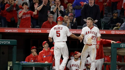 <p>               Los Angeles Angels' Albert Pujols returns to the dugout after scoring on a double by Kole Calhoun during the fifth inning of the team's baseball game against the Toronto Blue Jays in Anaheim, Calif., Wednesday, May 1, 2019. (AP Photo/Chris Carlson)             </p>