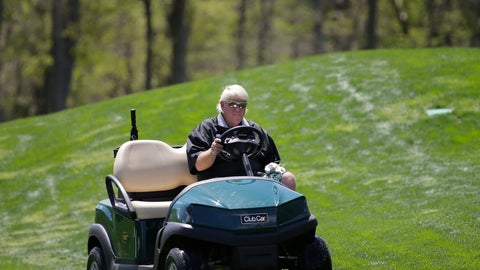 <p>               John Daly drives to the fifth green in a cart during a practice round for the PGA Championship golf tournament, Wednesday, May 15, 2019, at Bethpage Black in Farmingdale, N.Y. (AP Photo/Seth Wenig)             </p>
