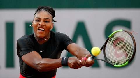 <p>               FILE - In this June 2, 2018, file photo, Serena Williams of the United States, returns a shot against Germany's Julia Georges during their third round match at the French Open tennis tournament at the Roland Garros stadium in Paris, France. (AP Photo/Christophe Ena, File)             </p>