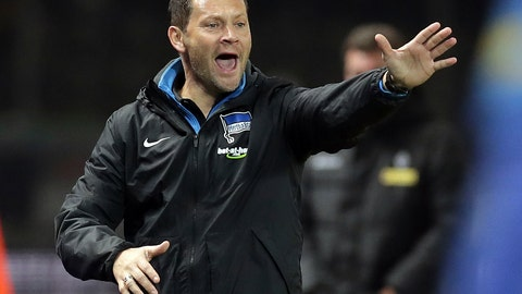 <p>               File -- In this Saturday, Nov. 18, 2017 photo Hertha's head coach Pal Dardai gestures during the German Bundesliga soccer match between Hertha BSC Berlin and Borussia Moenchengladbach in Berlin, Germany. (AP Photo/Michael Sohn, file)             </p>