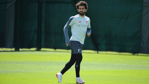 <p>               Liverpool's Mohamed Salah takes part in a training session at the Liverpool soccer team media open day, in Liverpool, England, Tuesday, May 28, 2019, ahead of their Champions League Final soccer match against Tottenham on Saturday in Madrid. (AP Photo/Rui Vieira)             </p>