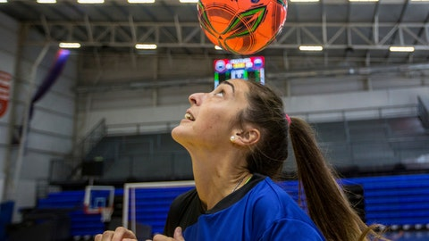 """<p>               FILE - In this Saturday, March 23, 2019, file photo, Macarena Sanchez, a soccer player who is taking legal action against her club and the Argentine soccer association for not recognizing her as a professional player, heads a ball before a mixed soccer match as part of the """"I play for equality"""" event in Buenos Aires, Argentina. Players in Latin America face obvious economic and cultural challenges when it comes to soccer and sports overall. (AP Photo/Daniel Jayo, File)             </p>"""