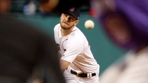 <p>               Boston Red Sox starting pitcher Chris Sale delivers against the Colorado Rockies during the first inning of a baseball game Tuesday, May 14, 2019, at Fenway Park in Boston. (AP Photo/Winslow Townson)             </p>