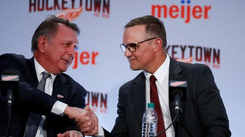 <p>               FILE - In this April 19, 2019, file photo, Ken Holland, Detroit Red Wings senior vice president, left, shakes hands with Steve Yzerman, executive vice president and general manager, during a news conference in Detroit. The Red Wings have hired Pat Verbeek as assistant general manager to work in the new regime run by Steve Yzerman. (AP Photo/Carlos Osorio)             </p>