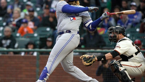 <p>               Toronto Blue Jays' Vladimir Guerrero Jr. hits a single against the San Francisco Giants during the second inning of a baseball game in San Francisco, Tuesday, May 14, 2019. (AP Photo/Tony Avelar)             </p>