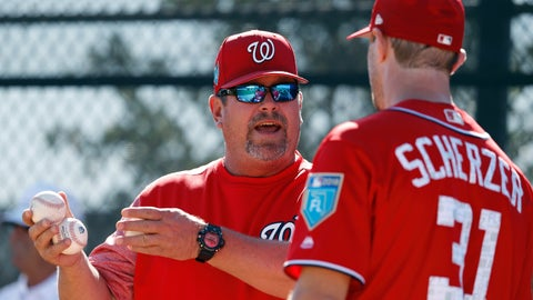 <p>               FILE - In this Feb. 17, 2018, file photo, Washington Nationals pitching coach Derek Lilliquist, left, talks with pitcher Max Scherzer during baseball spring training in West Palm Beach, Fla. The Nationals have fired Lilliquist. Minor league pitching coordinator Paul Menhart has been promoted to replace Lilliquist. General manager Mike Rizzo made the announcement Thursday, May 2, moments after the Nationals defeated the St. Louis Cardinals 2-1. (AP Photo/Jeff Roberson, File)             </p>