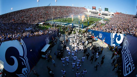 <p>               FILE - In this Aug. 13, 2016, file photo, the Los Angeles Rams take the field at Los Angeles Memorial Coliseum for a preseason NFL football game against the Dallas Cowboys, in Los Angeles. Opened in 1923, the Coliseum first gained the Rams as a tenant in 1946 when they moved west from Cleveland. (AP Photo/Ryan Kang, File)             </p>