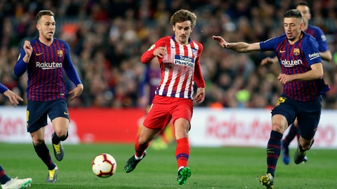 <p>               FILE - In this April 6, 2019, file photo, Atletico forward Antoine Griezmann, center, vies for the ball with Barcelona midfielder Arthur, left, and Barcelona defender Clement Lenglet, right, during a Spanish La Liga soccer match in Barcelona, Spain. Atletico Madrid will be the opponent for the Major League Soccer All-Star game this summer in Orlando. The 10-time La Liga champions are the second team from the league to play the domestic All-Stars, joining Real Madrid, the opponents in the 2017 game in Chicago. (AP Photo/Manu Fernandez, File)             </p>