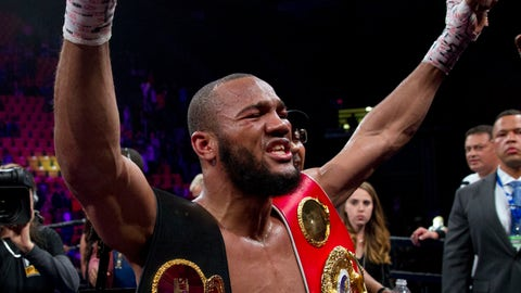 <p>               Julian Williams celebrates after defeating Jarrett Hurd for the IBF, WBA and IBO super welterweight boxing titles in Fairfax, Va., Saturday, May 11, 2019. Williams won by unanimous decision. (AP Photo/Jose Luis Magana)             </p>