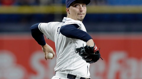 <p>               Tampa Bay Rays starting pitcher Blake Snell goes into his windup against the Arizona Diamondbacks during the first inning of a baseball game Monday, May 6, 2019, in St. Petersburg, Fla. (AP Photo/Chris O'Meara)             </p>