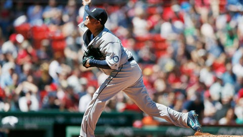 <p>               Seattle Mariners' Felix Hernandez pitches during the first inning of a baseball game against the Boston Red Sox in Boston, Saturday, May 11, 2019. (AP Photo/Michael Dwyer)             </p>