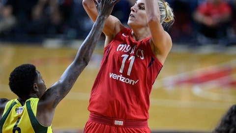 <p>               FILE - In this Sept. 12, 2018, file photo, Washington Mystics forward Elena Delle Donne (11) shoots against Seattle Storm forward Natasha Howard (6) during the second half of Game 3 of the WNBA basketball finals, in Fairfax, Va. The Washington Mystics sit atop the preseason Associated Press WNBA poll for the first time. The runner-ups from last season's WNBA Finals received five first-place votes from the 14-person national media panel Wednesday, May 22, 2019. Washington is led by Elena Delle Donne, who was the panel's preseason player of the year. (AP Photo/Nick Wass, File)             </p>