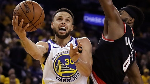 <p>               Golden State Warriors' Stephen Curry, left, lays up a shot past Portland Trail Blazers' Maurice Harkless during the first half of Game 1 of the NBA basketball playoffs Western Conference finals Tuesday, May 14, 2019, in Oakland, Calif. (AP Photo/Ben Margot)             </p>
