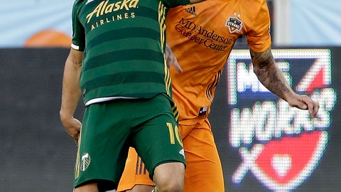 <p>               Portland Timbers midfielder Sebastian Blanco (10) falls back as Houston Dynamo defender Aljaz Struna attempts to steal the ball during the first half of an MLS soccer match Wednesday, May 15, 2019, in Houston. (AP Photo/Michael Wyke)             </p>