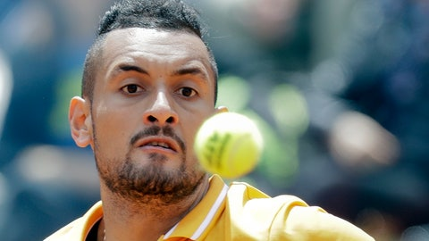 <p>               Nick Kyrgios of Australia returns the ball to Daniil Medvedev of Russia at the Italian Open tennis tournament, in Rome, Tuesday, May, 14, 2019. Kyrgios won 6-3, 3-6, 6-3. (AP Photo/Andrew Medichini)             </p>