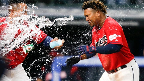 <p>               Cleveland Indians' Jose Ramirez, right, is greeted at home plate by Leonys Martin after hitting a game-winning two-run home run off Chicago White Sox relief pitcher Kelvin Herrera during the ninth inning of a baseball game Wednesday, May 8, 2019, in Cleveland. The Indians defeated the White Sox 5-3. (AP Photo/Ron Schwane)             </p>