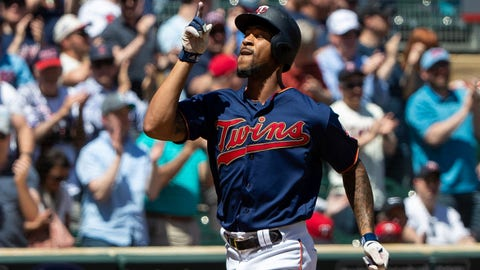 May 15, 2019; Minneapolis, MN, USA; Minnesota Twins outfielder Byron Buxton (25) celebrates his home run in the fifth inning against Los Angeles Angels at Target Field. Mandatory Credit: Brad Rempel-USA TODAY Sports