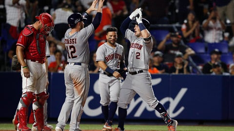 <p>               Houston Astros' Alex Bregman, right, is congratulated by teammate Max Stassi, as he runs home after hitting a home run in the eighth inning of a baseball game against the Los Angeles Angels, in Monterrey, Mexico, Saturday, May 4, 2019. (AP Photo/Rebecca Blackwell)             </p>