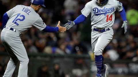 <p>               Los Angeles Dodgers' Enrique Hernandez, right, celebrates with third base coach Dino Ebel after hitting a two-run home run off San Francisco Giants' Ty Blach during the sixth inning of a baseball game Tuesday, April 30, 2019, in San Francisco. (AP Photo/Ben Margot)             </p>
