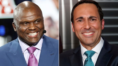 "<p>               FILE - At left, in an April 24, 2019, file photo, Booger McFarland is seen on the set of ESPN SportsCenter, in Nashville, Tenn. At right, in an Aug. 16, 2018, file photo, Joe Tessitore poses for a photograph before an ESPN telecast of a preseason NFL football game, in Landover, Md. ESPN's ""Monday Night Football"" will go with a two-person booth this upcoming season, with Booger McFarland joining Joe Tessitore. ESPN had a three-man commentary team last year. (AP Photo/File)             </p>"